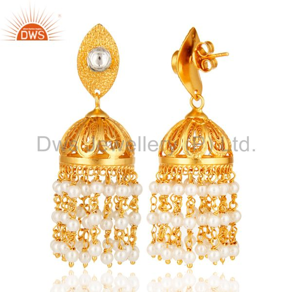 Exporter Shiny 18K Yellow Gold Plated Natural White Pearl Indian Jhumka Dangle Earrings