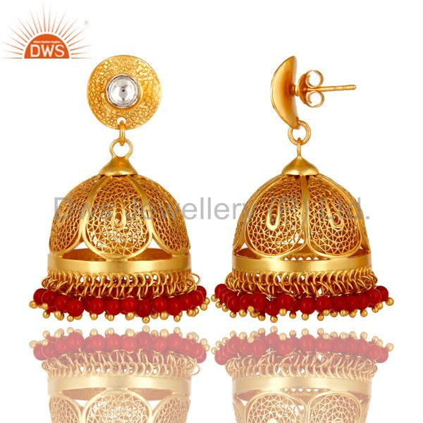 Exporter 18K Gold Plated Sterling Silver CZ Polki And Red Coral Designer Jhumka Earrings