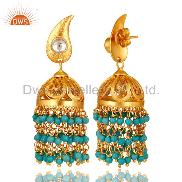 Exporter 14K Gold Plated Sterling Silver Turquoise Beads And Crystal Polki Jhumka Earring
