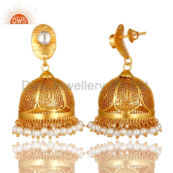 Exporter 22K Yellow Gold Over Sterling Silver CZ Polki And Pearl Designer Jhumka Earrings