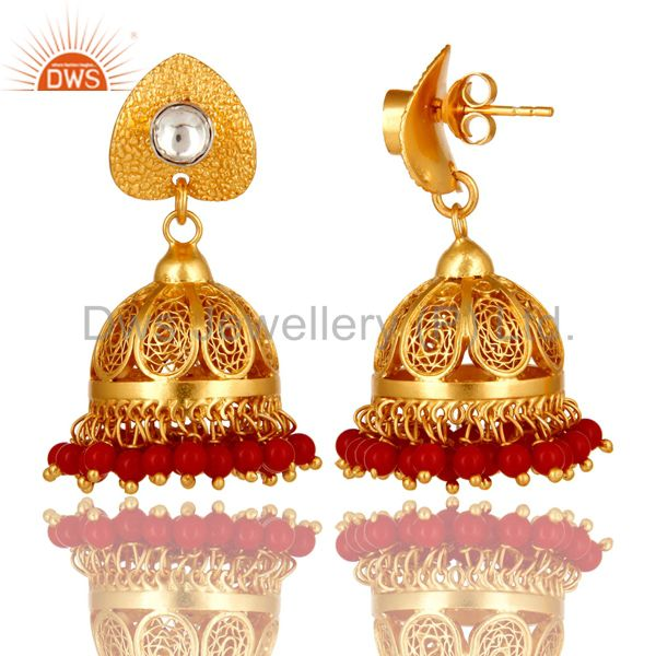 Exporter 22K Gold Plated Sterling Silver CZ Polki And Red Coral Designer Jhumka Earrings