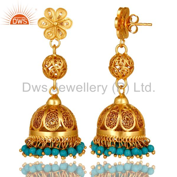 Exporter 22K Yellow Gold Plated Sterling Silver Turquoise Ethnic Designer Jhumka Earrings