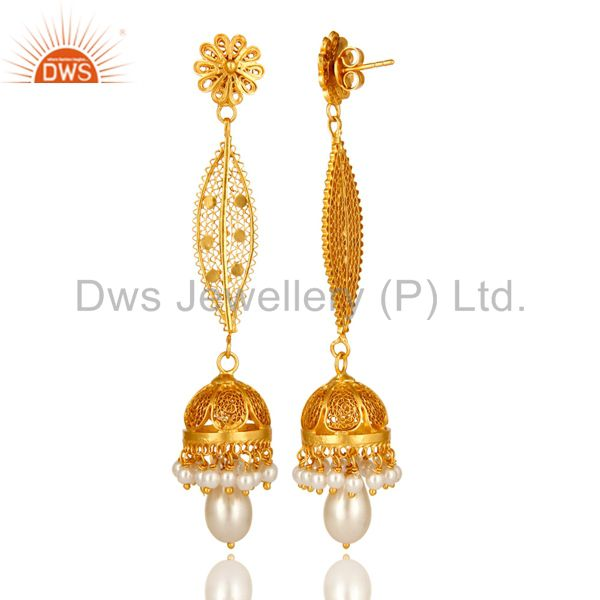 Exporter Shiny 14K Yellow Gold Plated Sterling Silver Pearl Long Dangle Jhumka Earrings