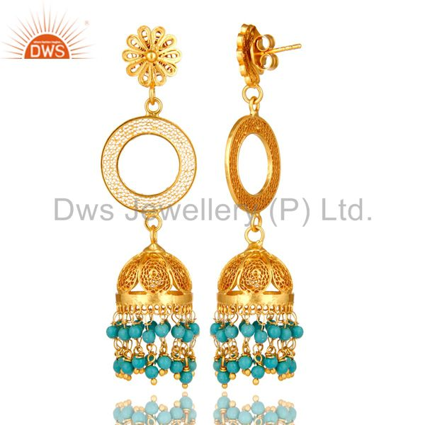 Exporter 14K Yellow Gold Plated Sterling Silver Turquoise Filigree Jhumka Dangle Earring