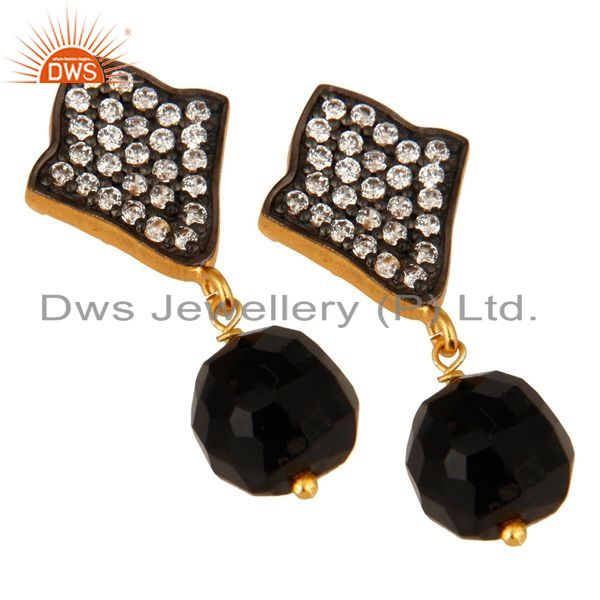 Exporter 18K Yellow Gold Plated Sterling Silver Black Onyx & CZ Gemstone Dangle Earrings