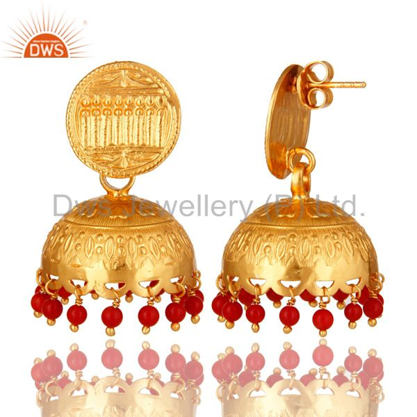 Exporter 14K Yellow Gold Plated Sterling Silver Indian Jhumka Earrings With Red Coral