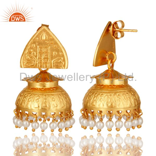 Exporter 14K Gold Plated Sterling Silver Natural Pearl South Indian Jhumka Earrings