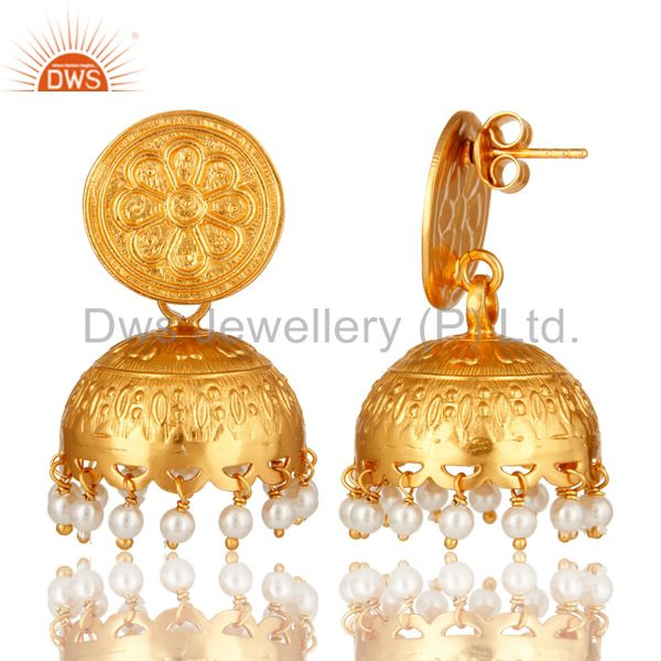 Exporter Handmade Sterling Silver Natural Pearl Traditional Jhumka Earrings - Gold Plated