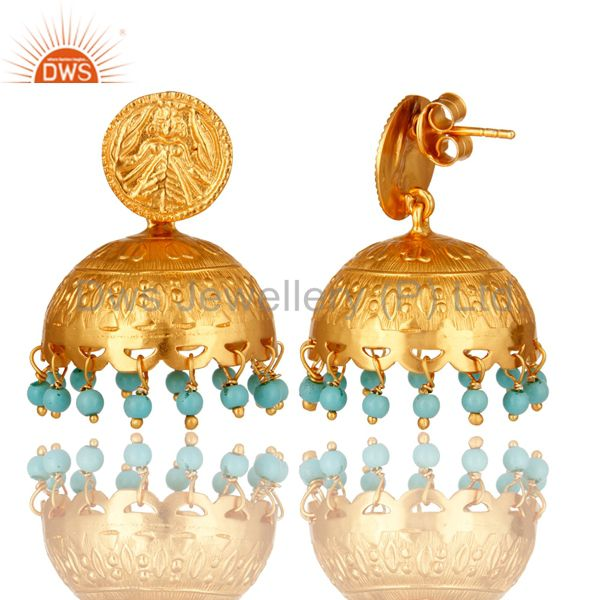 Exporter 18K Gold Plated Sterling Silver Handmade Turquoise Gemstone Jhumka Earrings