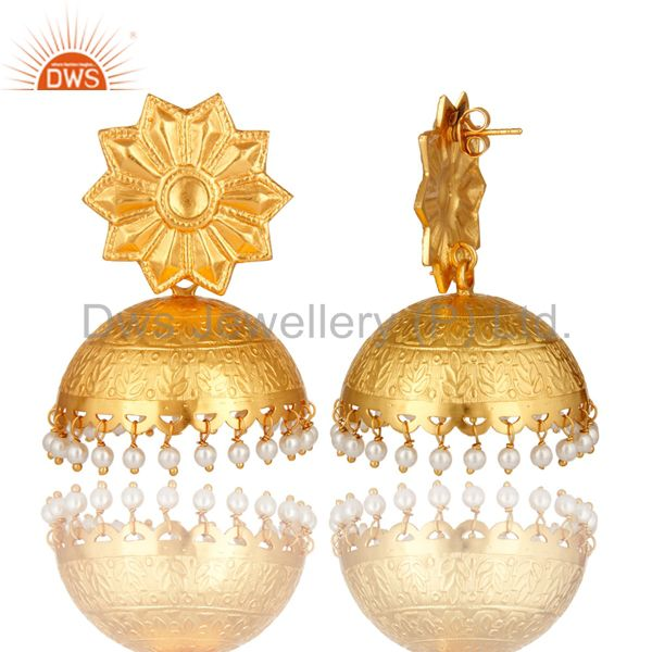 Exporter Beautiful Hand Crafted Sterling Silver Pearl Jhumka Earrings With Gold Plated