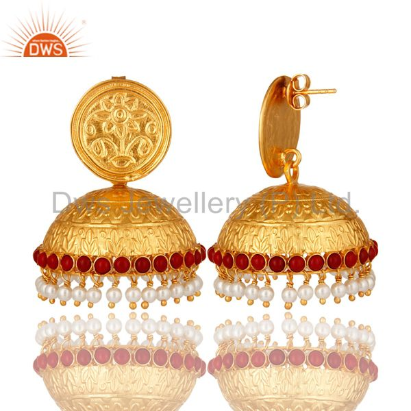 Exporter Red Coral And Pearl Traditional Style Jhumka Earrings Made In 18K Gold On Silver