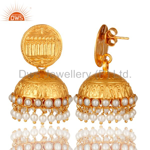 Exporter Natural Pearl 22K Gold Plated Sterling Silver Jhumka Temple Earrings Jewelry