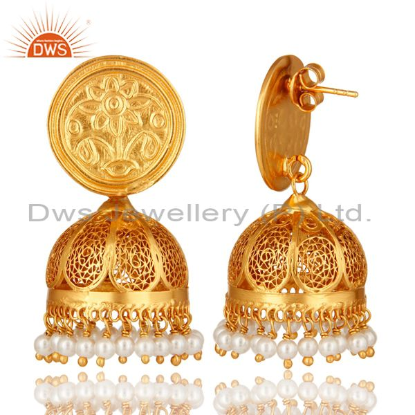 Exporter Natural Pearl 22K Gold Plated Sterling Silver Filigree Jhumka Temple Earrings