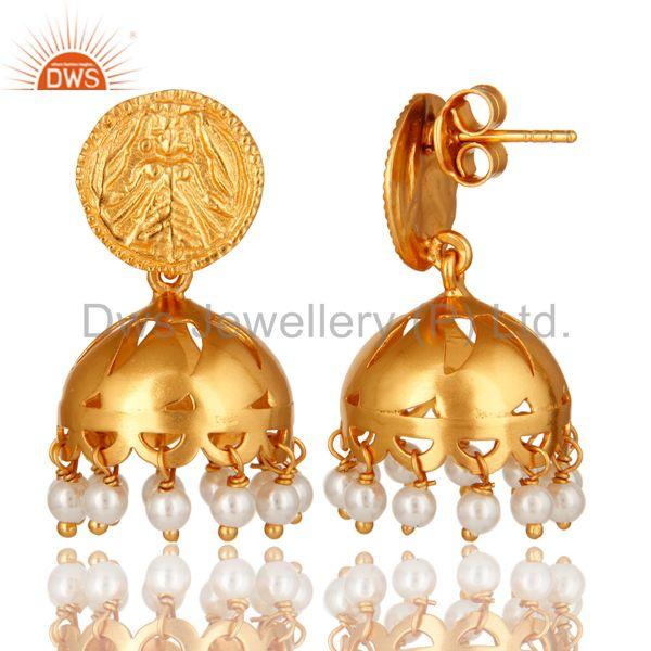 Exporter 18K Gold Plated Sterling Silver Natural Pearl Jhumka Traditional Earrings