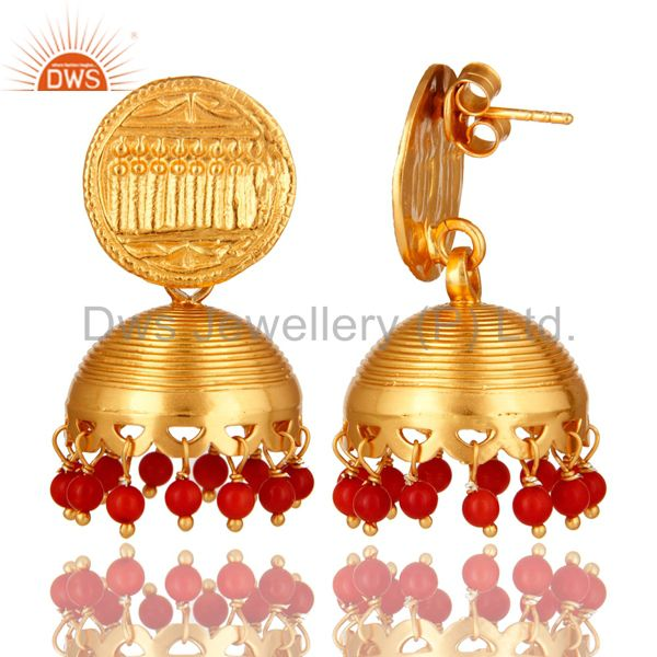 Exporter 22K Yellow Gold Plated Sterling Silver Red Coral Unique Design Jhumka Earrings