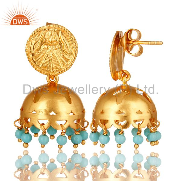 Exporter 22K Yellow Gold Plated Sterling Silver Turquoise Gemstone Beads Jhumka Earrings