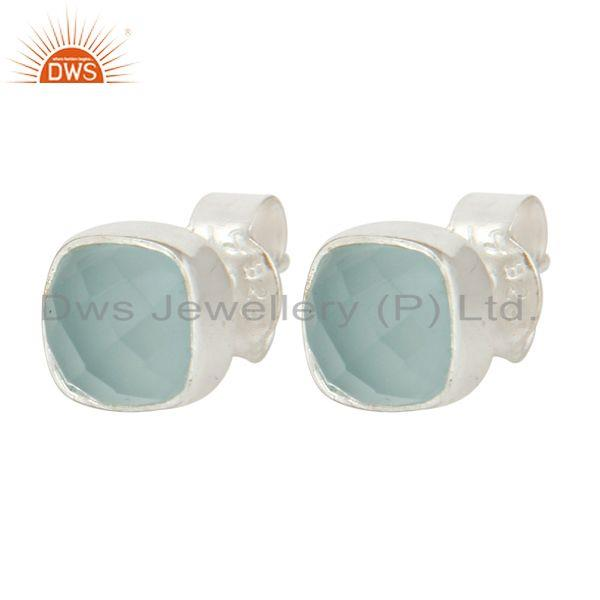 Exporter 925 Sterling Silver Aqua Glass Cushion Cut Womens Fashion Stud Earrings