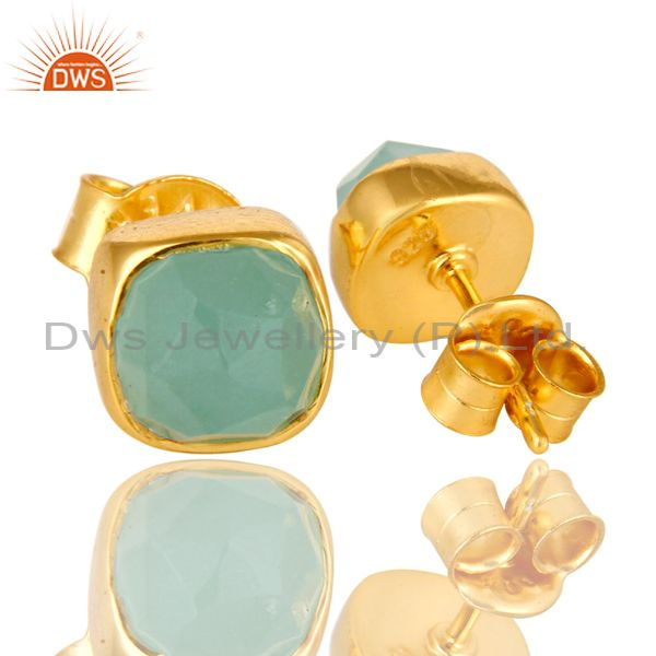 Suppliers Dyed Aqua Chalcedony Gemstone Stud Earrings In 14K Gold Over Sterling Silver