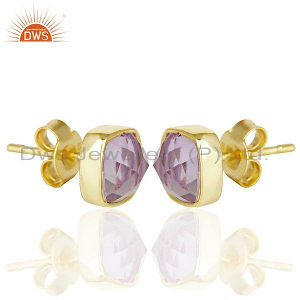 Exporter Natural Amethyst Cushion Rose Cut Small 14 K gold Plated Stud Earring