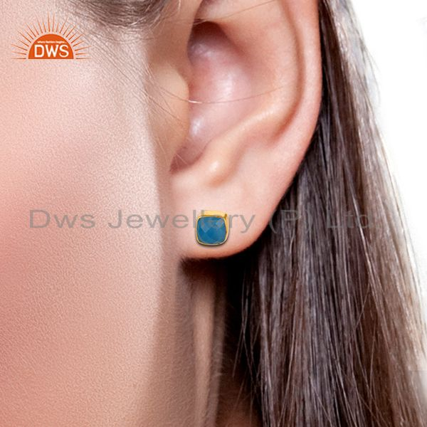 Exporter 18K Yellow Gold Plated Sterling Silver Dyed Blue Chalcedony Stud Earrings