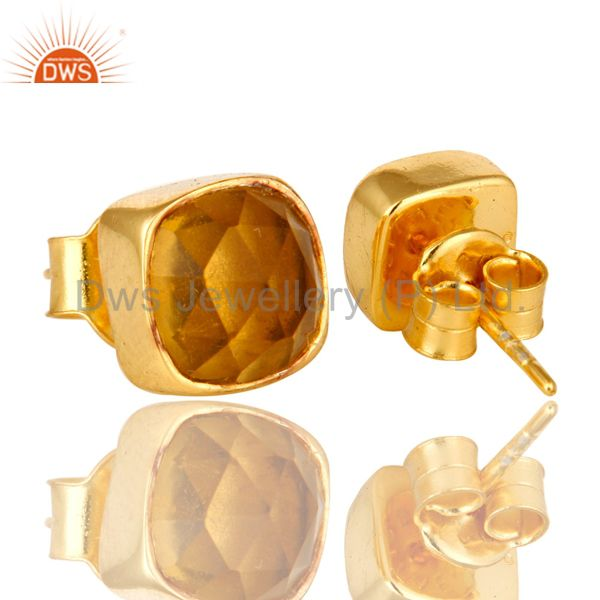 Exporter Citrine Hydro Cushion Cut 18K Gold Plated Sterling Silver Stud Earrings