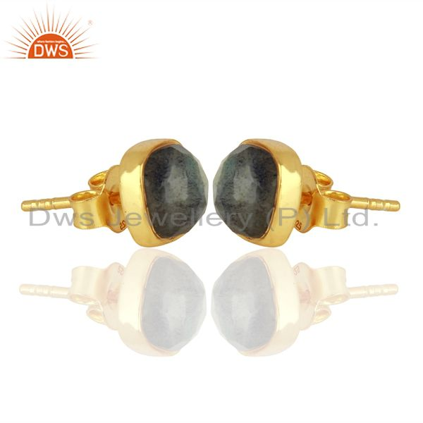 Exporter Natural Labradorite Gemstone Stud Earrings In 18K Gold Over Sterling Silver