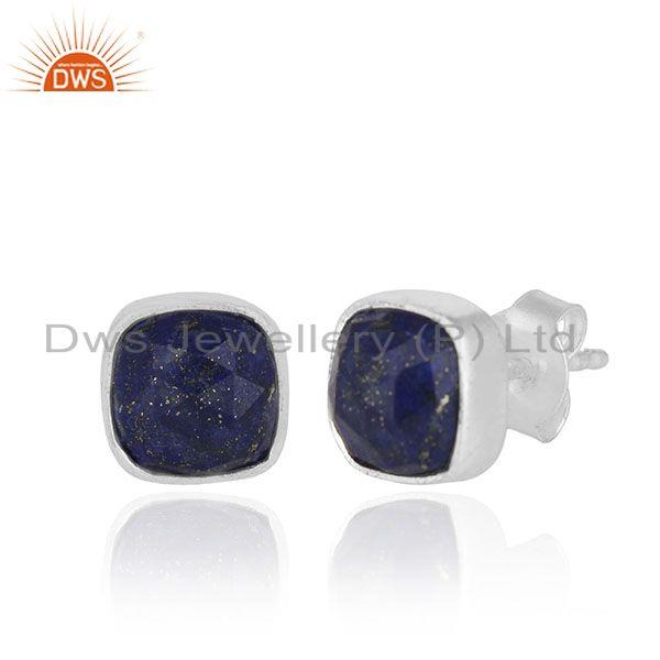 Exporter Lapis Lazuli Gemstone 925 Silver Handmade Stud Earrings Manufacturer from India