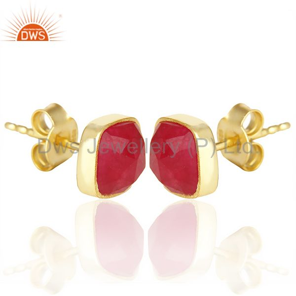 Exporter Natural Deep Red Aventurine Cushion Rose Cut Small 14 K gold Plated Stud Earring