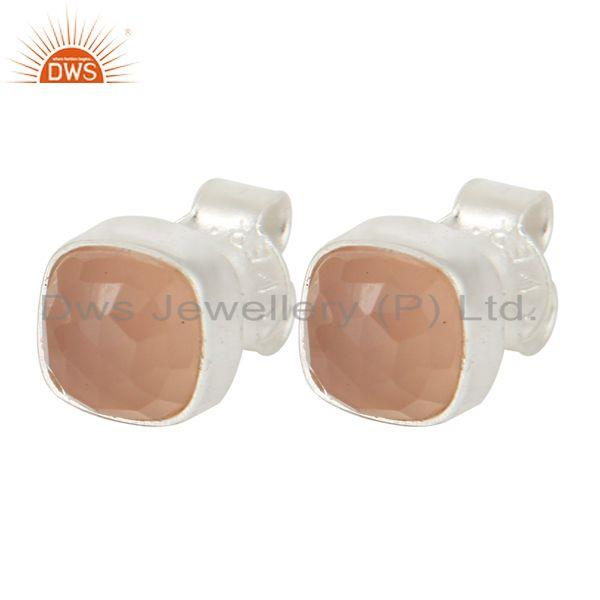 Exporter 925 Sterling Silver Rose Chalcedony Womens Fashion Cushion Stud Earrings
