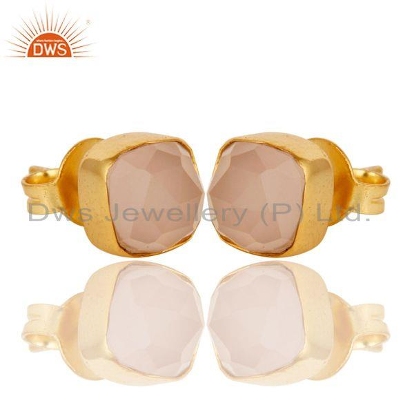 Exporter 14K Yellow Gold Plated Sterling Silver Rose Chalcedony Womens Stud Earrings