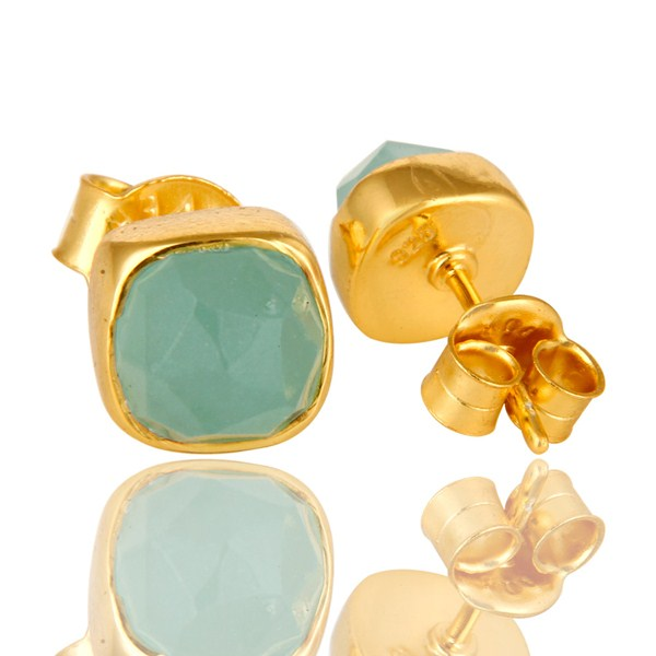 Exporter Dyed Aqua Chalcedony Gemstone Stud Earrings In 14K Gold Over Sterling Silver