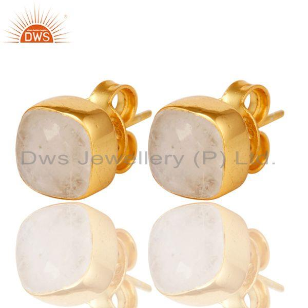 Exporter 14K Yellow Gold Plated Sterling Silver Rainbow Moonstone Womens Stud Earrings