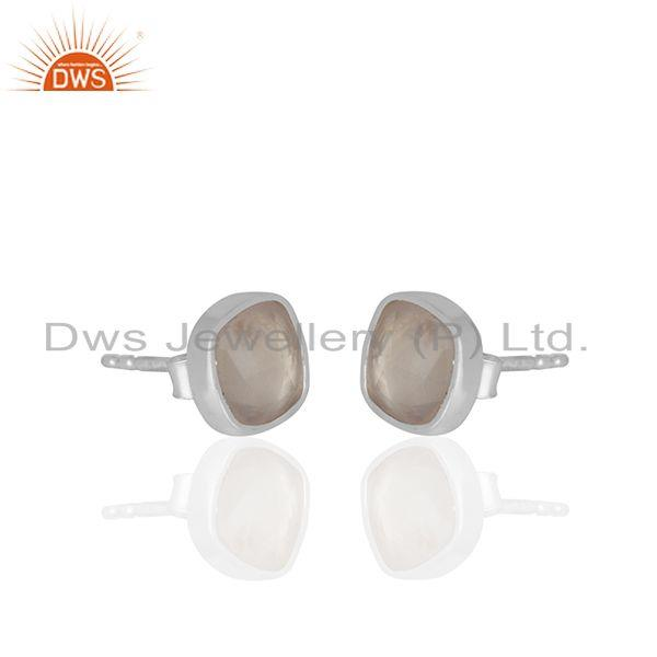 Exporter Rose Quartz Gemstone 925 Silver Handmade Custom Stud Earrings Manufacturer