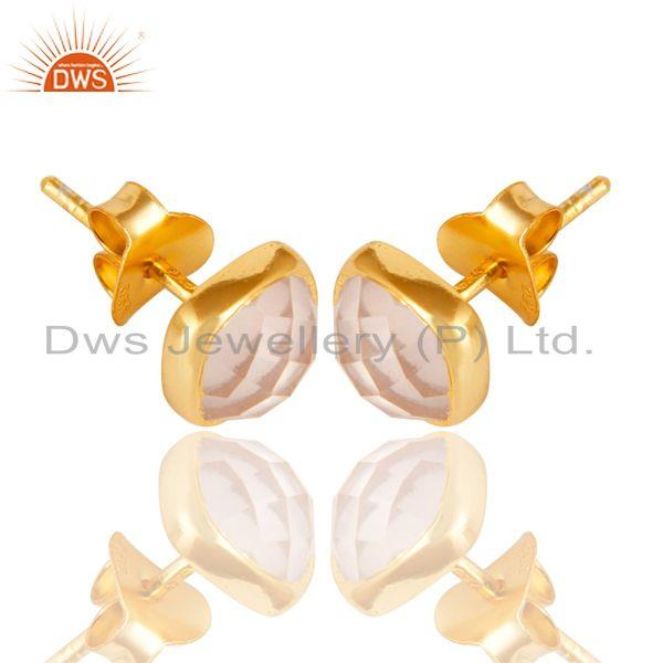 Exporter 14K Yellow Gold Plated 925 Sterling Silver Rose Quartz Womens Stud Earrings