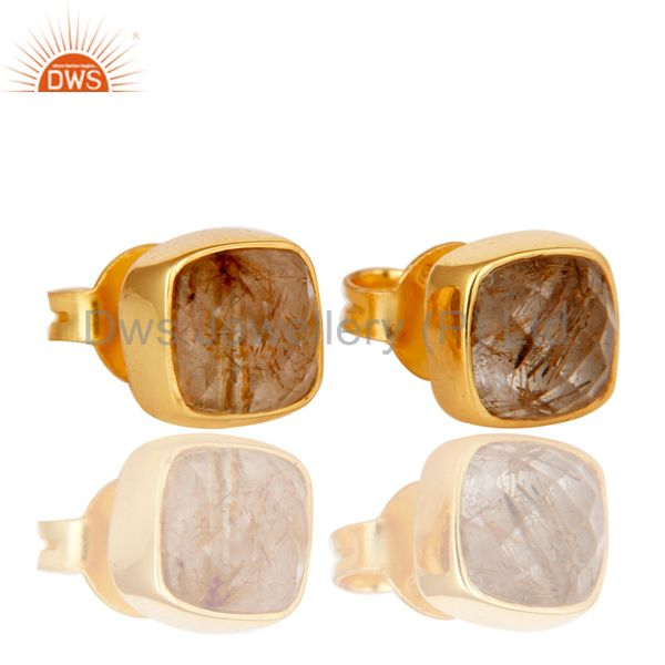 Exporter 14K Yellow Gold Plated Sterling Silver Rutilated Quartz Womens Stud Earrings