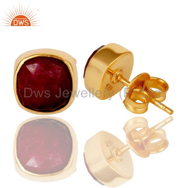 Exporter Natural Ruby Corundum 18K Yellow Gold Plated Sterling Silver Stud Earrings