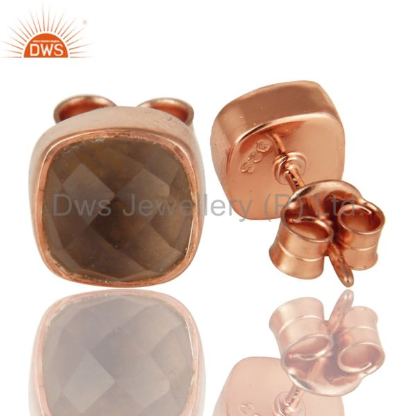 Exporter 18k Rose Gold Over Sterling Silver Natural Smoky Quartz Stud Earrings
