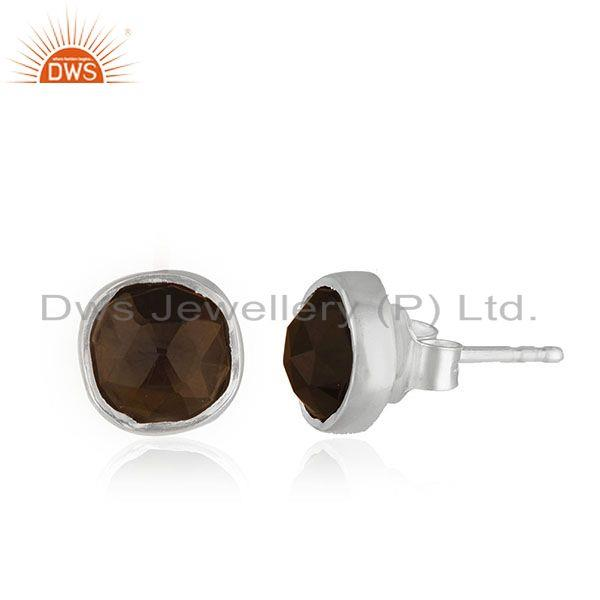 Exporter Smoky QUartz Gemstone Handmade 925 Silver Stud Earring Jewelry Manufacturer