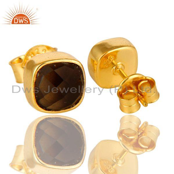 Exporter Smoky Quartz Stud Earrings in 14K Yellow Gold Over Sterling Silver