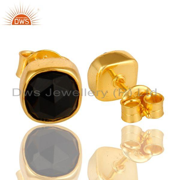 Exporter 14K Yellow Gold Over Sterling Silver Black Onyx Gemstone Stud Earrings