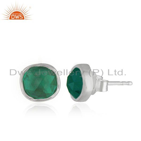 Exporter Customized Sterling Silver Green Onyx Gemstone Stud Earring Jewelry Manufacturer
