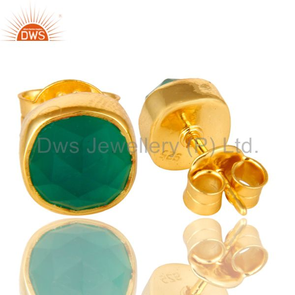 Exporter 14K Yellow Gold Over Sterling Silver Natural Green Onyx Stud Earrings