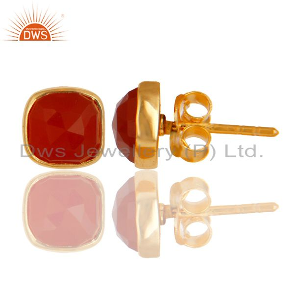 Exporter 14K Yellow Gold Over  Sterling Silver Natural Red Onyx Studs Earrings
