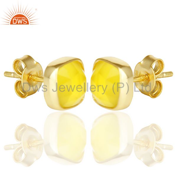 Exporter Yellow Chalcedony Cushion Rose Cut Small 14 K gold Plated Stud Earring
