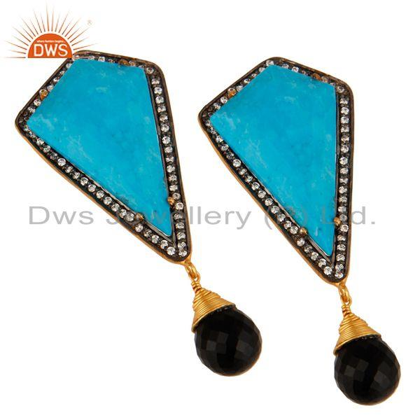 Exporter 18K Gold Over Sterling Silver Turquoise And Black Onyx Post Stud Dangle Earrings