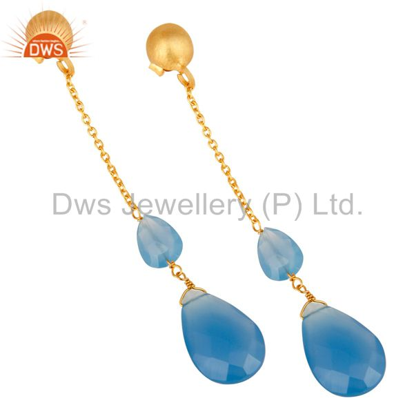Exporter 22K Yellow Gold Plated Sterling Silver Blue Chalcedony Chain Dangle Earrings
