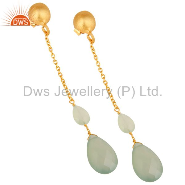 Exporter 22K Yellow Gold Plated Sterling Silver Green Chalcedony Chain Dangle Earrings