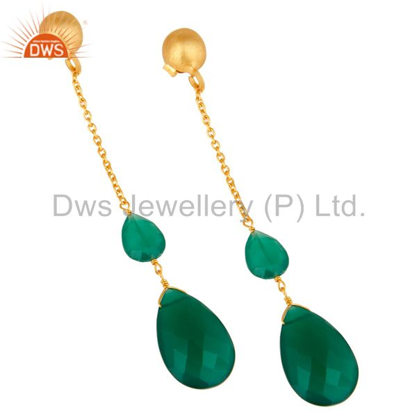 Exporter 22K Yellow Gold Plated Sterling Silver Green Onyx Briolette Chain Drop Earrings