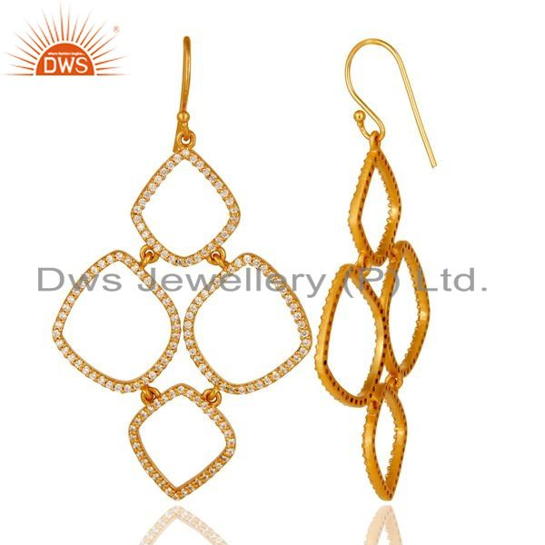 Exporter 18K Gold Plated Sterling Silver Cubic Zirconia Multi Circle Dangle Earrings