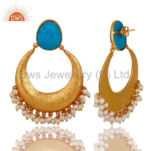 Exporter 18K Yellow Gold Plated Sterling Silver Turquoise And Pearl Ethnic Dangle Earring